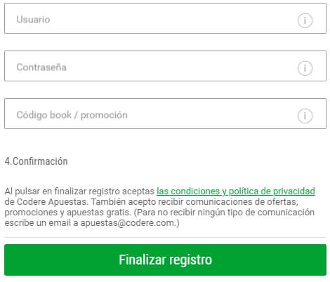 Codere Registro
